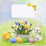Greeting Easter card with rabbit, chicken and eggs Royalty Free Stock Photos