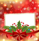 Greeting elegant card with Christmas decoration Stock Images