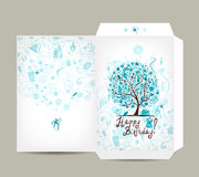 Greeting envelope design, female birthday tree Royalty Free Stock Photo