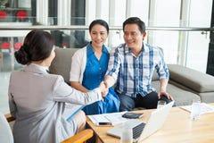 Greeting estate agent Stock Image