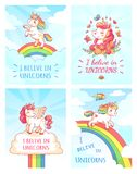 Greeting card writing design for girl with slogan I believe in unicorns . Rainbow colorful unicorn poster print vector. Greeting fantasy card writing design for stock illustration