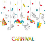Greeting Festive Poster for Happy Carnival. Illustration Greeting Festive Poster for Happy Carnival with Party Colorful Icons and Objects - Vector Royalty Free Stock Images