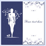 Greeting floral card with girl silhouette blue Stock Photography