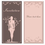 Greeting floral card with girl silhouette brown Stock Photos
