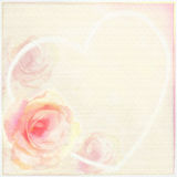 Greeting Floral Card With Light Roses, Abstract Heart And Frame Royalty Free Stock Photo