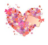 Greeting floral heart. Greeting card with floral heart Stock Photography