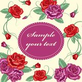Greeting floral rose card. Vector illustration Royalty Free Stock Photography
