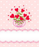 Greeting flower heart card. Pink greeting flower heart card Stock Photography