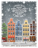 Greeting gard with winter european town Royalty Free Stock Image