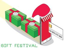 Greeting gift box Credit Card and Mobile Phone. Cartoon Design Vector Illustration Stock Photos