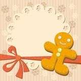 Greeting with Gingerbread man Cookie Stock Photo