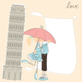 Girl kiss boy under umbrella in Italy Royalty Free Stock Image