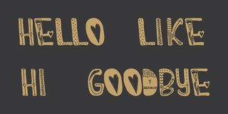 Greeting and goodbye is written by hand in gold on a black background. The words hello, hi, goodbye, like to create a design poste. R, a chat or register blog Royalty Free Stock Images
