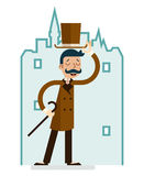 Greeting Great Britain Victorian Gentleman Businessman Character English City Background Flat Design Vector Illustration Royalty Free Stock Photo