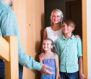Greeting guests at the door Stock Photo