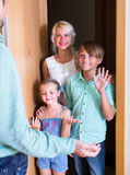 Greeting guests at the door Royalty Free Stock Image