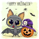 Cute Cartoon Bat with pumpkin. Greeting Halloween Card Cute Cartoon Bat with pumpkin vector illustration
