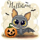 Cute Cartoon Bat with pumpkin. Greeting Halloween Card Cute Cartoon Bat with pumpkin stock illustration
