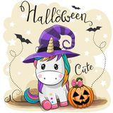 Cute Cartoon Unicorn with pumpkin