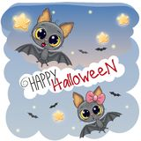 Greeting Halloween card with two bats. Greeting Halloween card with two cute bats stock illustration