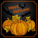 Greeting halloween card with watercolor pumpkins Royalty Free Stock Images