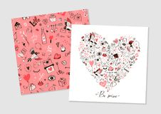 Greeting hand-drawn card to Valentine`s Day Stock Image