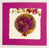 Greeting handmade card. With flowers royalty free stock image
