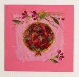 Greeting handmade card. Pink greeting handmade card with flowers royalty free stock photo