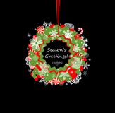 Greeting hanging paper wreath for winter holidays Stock Photography