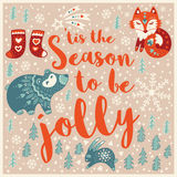 Greeting Holiday card with fox, bear, rabbit and socks Stock Photos