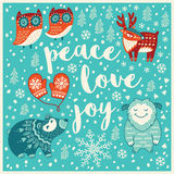 Greeting Holiday card with yeti, bear, owls and deer Stock Images