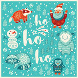 Greeting Holiday card with yeti, raccoon, santa and badger Royalty Free Stock Images