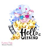 Greeting holidays illustration. Watercolor cartoon pig with weekend lettering and pop corn . Funny quote. Party symbol. Greeting holidays illustration royalty free illustration