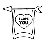 Greeting i love you heart arrow ribbon outline Royalty Free Stock Photos