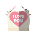 Greeting i love you heart arrow ribbon shadow Stock Photography