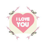 Greeting i love you heart arrow ribbon Royalty Free Stock Photography