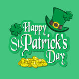 Greeting inscription with St. Patrick s Day. Traditional holiday symbols green leprechaun hat, four-leaf clover and a handful of g Stock Image