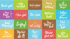 Greeting and inspirational cards set. Typographic vector design. Calligraphic quotes, wishes, greetings. Hand drawn Stock Images
