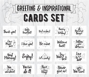 Greeting and inspirational cards set. Typographic vector design. Calligraphical quotes, wishes, greetings. Hand drawn. Cards collection. Greetings, quotes and Stock Images