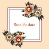 Greeting or invitation card with flowers. Save the date. Beautiful frame. Greeting or invitation card with flowers. Save the date. Beautiful vector frame Royalty Free Stock Image