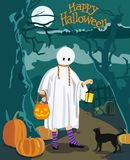 Greeting or invitation card for Halloween. Vector illustration Stock Photo