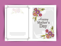 Greeting or invitation card for Happy Mothers Day. Stock Images