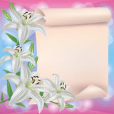 Greeting or invitation card with lily flower Royalty Free Stock Photos