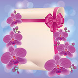 Greeting or invitation card with purple orchid Stock Photography