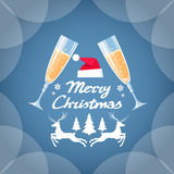 Greeting Invitation Card Two Glasses Champagne Stock Photography