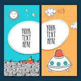 Greeting or Invitation Cards in doodle style. Stock Photo