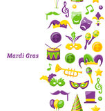 Greeting Invitation for Mardi Gras and Carnival , Seamless Texture, Fat Tuesday Stock Image