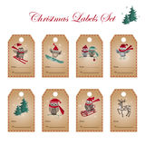 Greeting labels with owls, deer, and fir tree. Royalty Free Stock Photography