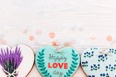 greeting lycklig s valentin för kortdag lycklig förälskelsedagtext på kock Arkivbild