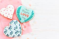 greeting lycklig s valentin för kortdag lycklig förälskelsedagtext på kock Royaltyfri Foto